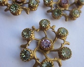 Vintage Swarovski Light green and Violet Twisted Vine Finding