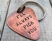 Personalized Guitar Pick KeyChain - engraved gift - Personalized Copper Hand Stamped Guitar Pick - Mens Gift - 2 sided pick Key Chain