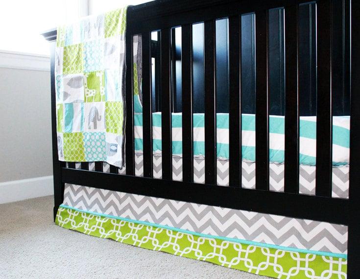 Custom Crib Bedding Aqua Grey And Lime Green By GiggleSixBaby