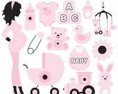 pregnancy pregnant baby clip art clipart digital - Chic Pregnancy Digital Clip Art (Pink)