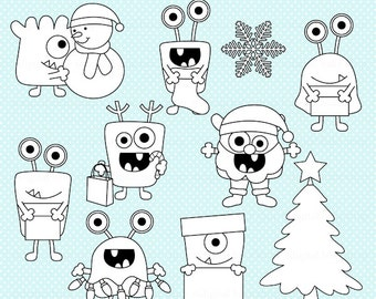 christmas stamps monsters digital - Christmas Monsters Stamps