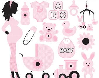 pregnancy pregnant baby clip art clipart digital - Chic Pregnancy Digital Clip Art (Pink)