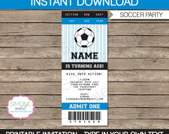 Soccer Ticket Invitation Template - Birthday Party - INSTANT DOWNLOAD with EDITABLE text - you personalize at home
