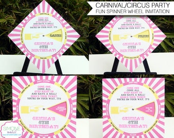 Carnival Invitation Template - Circus Birthday Party - Pink and Yellow - INSTANT DOWNLOAD with EDITABLE text - you personalize at home