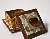 Handmade Square Box in Red & Gold with Glass Heart for Jewelry or Gift Packaging
