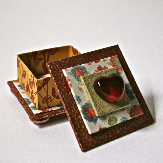Items similar to handmade square box in red gold with - Handmade jewellery box ideas ...