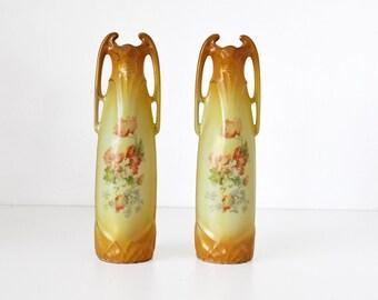 Pair Art Nouveau Porcelain Vases