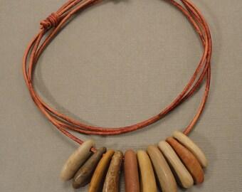 Long Mediterranean Beach Stone Necklace
