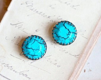 Turquoise Clip on Earrings - vintage Blue Marble