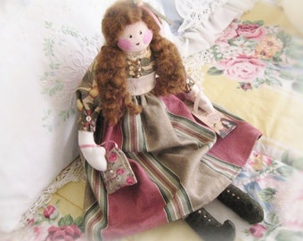 OOAK Art Doll, Soft Sculpture Doll, Cloth Doll, Emma Jean, 17 inch Handmade Folk Art Doll, CharlotteStyle SIGNED