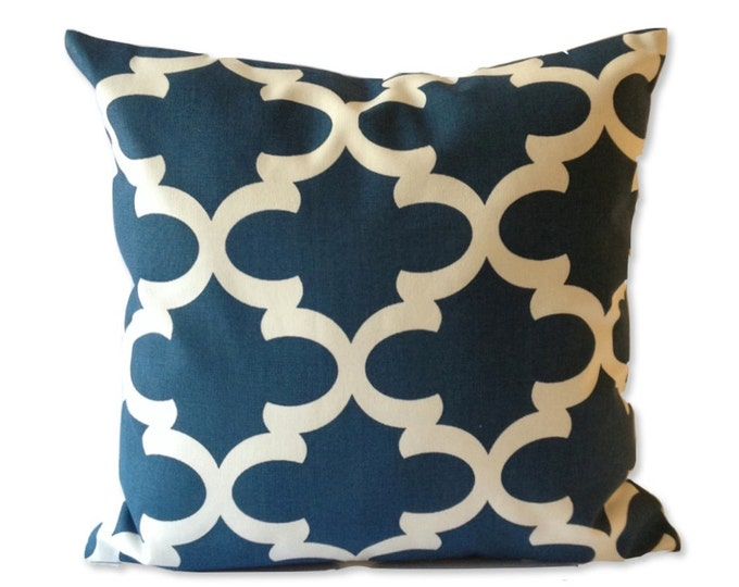SET OF TWO 16x16 or 18x18 Lattice Print Decorative Pillow Cover - Medium Weight Cotton- Invisible Zipper Closure