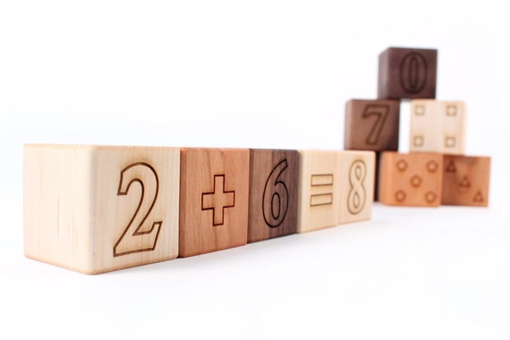 12-piece MATH BLOCKS set - all natural and educational hardwood toys - numbers, shapes, and more for toddler / preschooler, organic finish
