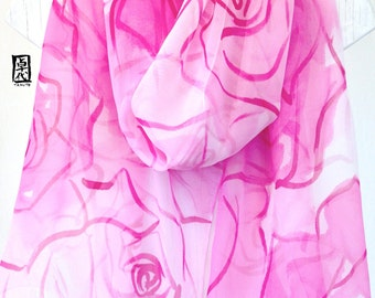 Pink Roses Silk Shawl Hand Painted, Gift for her, Holiday Gift, Pink Floral Chiffon Silk Shawl, Silk Scarves Takuyo, Approx 22x90 inches.