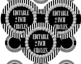 """Editable 2"""" Circles Digital Collage Sheets Black AND WHITE Stripe With BLING (No.1) Personalized, Cupcake Toppers, Magnets, Gift Tags"""