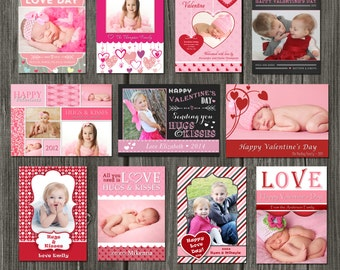 INSTANT DOWNLOAD - Valentine's Day Card Templates - 11 PSD Valentines Templates