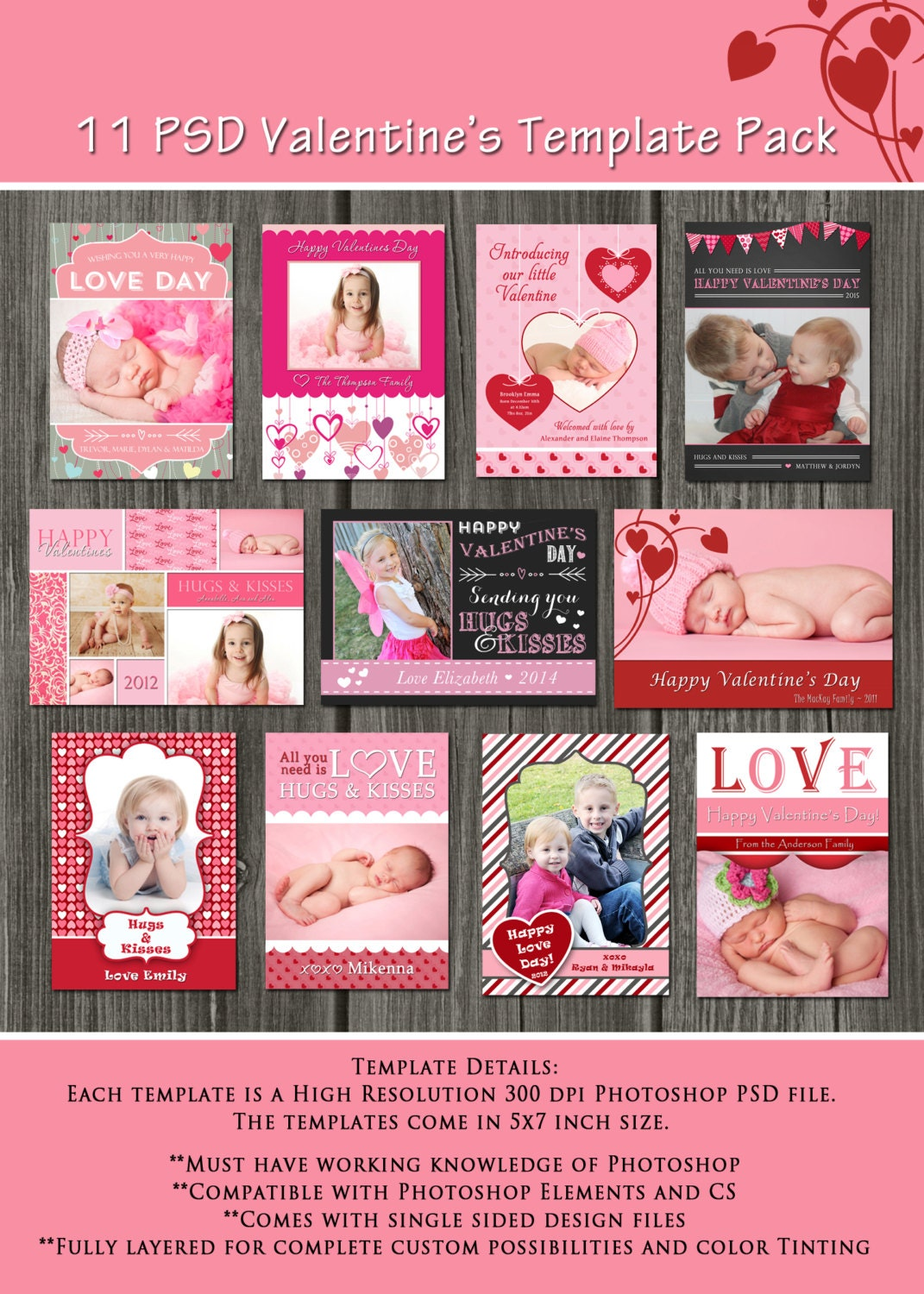 INSTANT DOWNLOAD Valentine's Day Card Templates 11 PSD