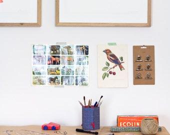 Whale - Blue - Letterpress print