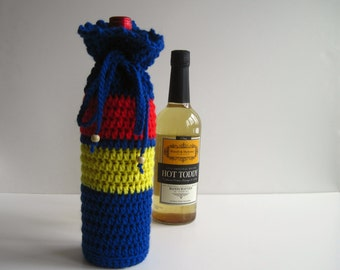 Wine Cozy - Crochet Wine Bottle Covers Sacks Gift Bags - Blue Red and Yellow Primary Colors