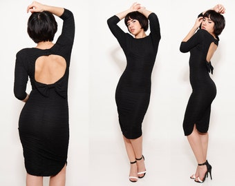80s Glam Sexy Skinny Black Dress Cut Out Open Back with Bow size 3/4 Small Made in Amercia - R5