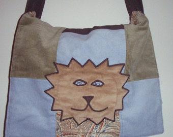 Large Lion Patchwork Messenger over the shoulder bag laptop