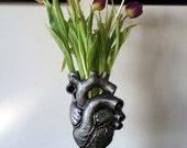 Anatomical Heart Vase, Pewter Finish