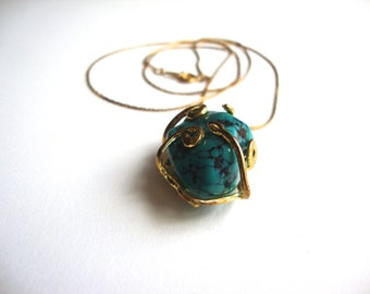 Caged Turquoise Necklace, Vintage Gold Tone Wrapped Stone Necklace