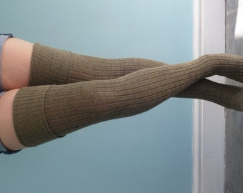 Khaki BROWN Army Surplus Chic Thigh High Tall Socks - Knitted Wool Extra Long Better than LEG warmers - Autumn Diesel Punk Steampunk Tights