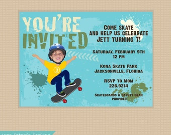 Skateboard . Your Kid Skating . Birthday Party INVITATION . Any Colors
