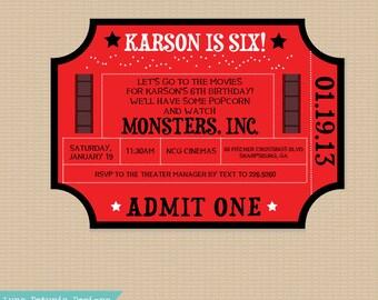 Movie Ticket . Invitation . Any colors