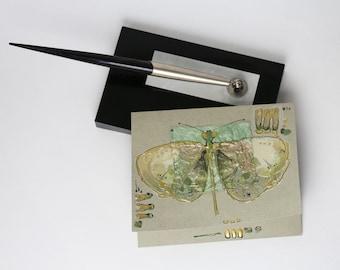 Blank art greeting card - Olive green butterfly - handmade greeting card - mixed media art - gold, mint green, yellow - batik -OOAK