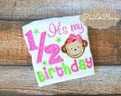 Half Birthday - happy half birthday - 6 month birthday - birthday - monkey theme - baby shower gift - baby girl -