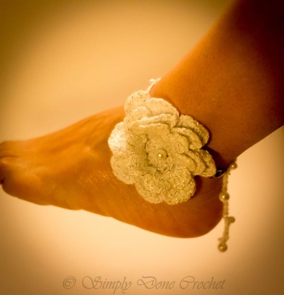 Handmade Crochet White Flower Anklet bracelet Wedding Wear
