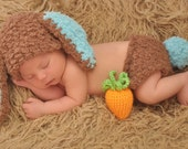 Bunny Rabbit Hat and Diaper Cover Set with Amigurumi Carrot Newborn Photo Prop Brown Turquoise Blue Baby Boy Easter Spring Photos