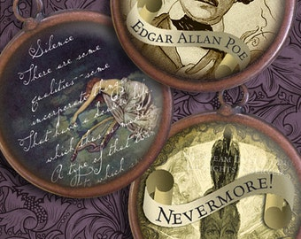 Edgar Allan Poe - Victorian Goth Textured Images - 1-Inch Circles - Digital Collage Sheet - Instant Download & Print