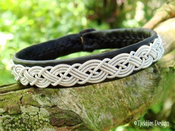 MIDGARD Viking Sami Bracelet. Custom Black Reindeer Leather Wristband with Pewter Braid and Antler Button - Handmade Tribal Elegance