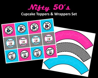 INSTANT DOWNLOAD - Cupcake Toppers & Wrappers - Printable-  Nifty 50's Diner theme