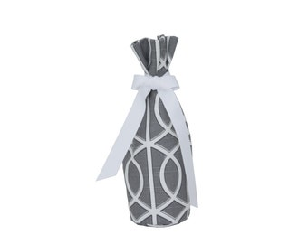 Wine Bottle Gift Bag - Grey & White Dwell Studio Fabric