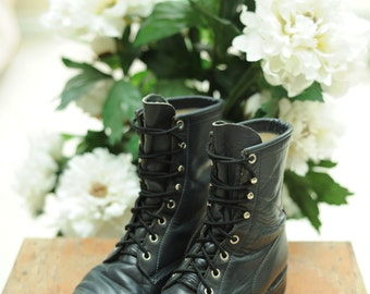 Vintage Justin Navy Blue Leather Roper Boots made in USA, womens 6