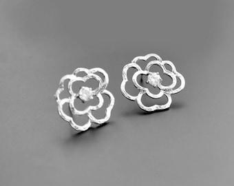 SALE, Rose earrings, Cubic earrings, Silver earrings, Posts earrings, Stud earrings, Wedding earrings, Gift for her, Vintage,Flower earrings
