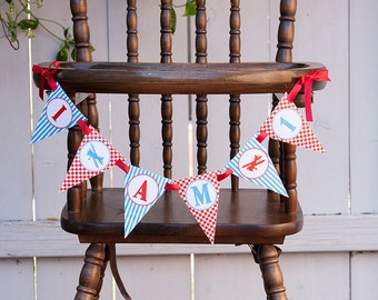 Airplane Highchair Banner, Red & Teal, Printable PDF File, INSTANT DOWNLOAD
