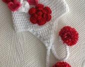 Valentine Hat, Crochet Hat with Flower and Earflaps, Crochet Hat, Baby Hat, Newborn Hat, Baby Girl Hat, Crochet Baby Hat