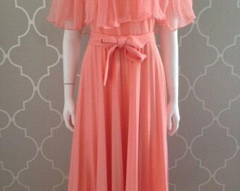 70s Pleated Maxi Dress