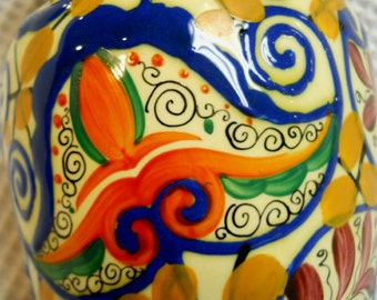 1930's Czech Pottery Vase - Paisley Pattern - Hand painted and signed by Basroh or Bosrah