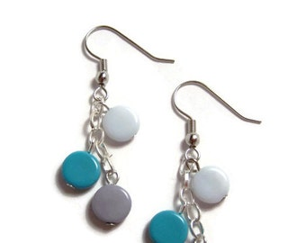 CLEARANCE..Mod Teal and Grey Earrings