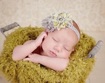 Gray Yellow Chevron Baby Headband- Newborn Photo Prop- Chevron Headband- Newborn, infant, child, teen or adult
