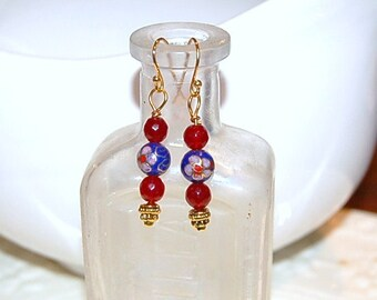 Faceted Ruby Red Quartz and Vintage Cloisonne Earrings - Gold Plated