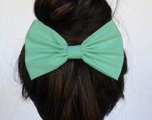 Mint Hair Bow Clip Mint Bow Mint Hair Clip Women's hair bows teens hair bows girls hair clips alligator clips big bows summer hair bows