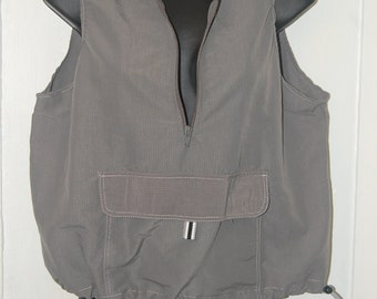 Windbreaker Vest Cyber Futuristic Athletic Sleeveless Crop Toggle Cargo Pocket 90s