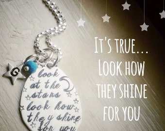 Initial Necklace Look At The Stars Song Lyrics Quote Coldplay Personalized Custom Birthstone Jewelry