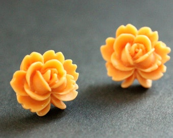 Orange Lotus Flower Earrings. Orange Lotus Earrings. Silver Post Earrings. Orange Earrings. Stud Earrings. Handmade Jewelry.
